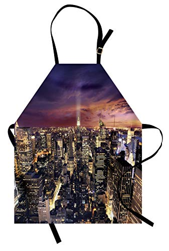 Lunarable NYC Apron, Manhattan Offices High Tall Tower Traffic Busy Urban Life Windows District View, Unisex Kitchen Bib with Adjustable Neck for Cooking Gardening, Adult Size, Purple Yellow (Best School Districts In Manhattan Nyc)