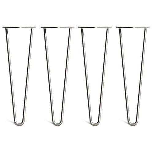 Steel Chrome Table (4 x Hairpin Table Legs – Superior Double Weld Steel Construction With FREE Screws, Build Guide & Protector Feet, Worth $10! – Mid-Century Modern Style – 4