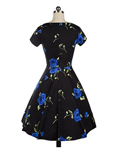 La Sra Retro Del Vestido Del Oscilación Grande De La Cintura Del Collar Del Cuadrado De Manga Corta Blue