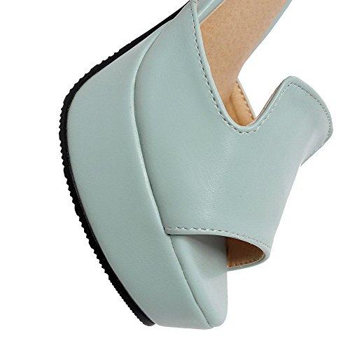 AllhqFashion Mujeres Peep Tacón ancho Material Mezclado Charol Sólido Hebilla Sandalia Azul