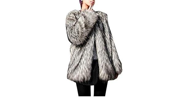 Lingswallow Womens Fluffy Faux Fur Thicken Loose Slim Open Front Jacket Outwear Coat