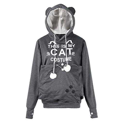 URIBAKE ❤ Women's Hooded Sweatshirt Pet Cat Kitten Carrying Drawstring Pouch Letter Printed Thicker Velvet Hoodie