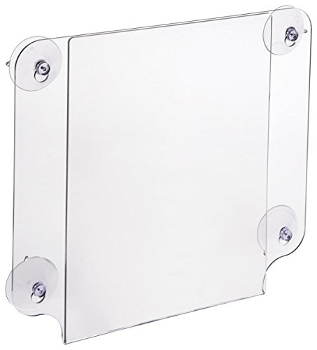 Displays2go Window Signs for 8.5 x 11 Inches Signs, Clear Acrylic Glass Mount Signage Holders with Suction Cups, Double-Sided, Case of 8 (GWM8511)