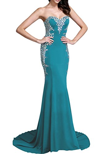 Promkleid Hochwertig Chiffon Festkleid Partykleid Damen Grün Steine Abendkleid Mermaid Ivydressing Lang 08wI5qnn