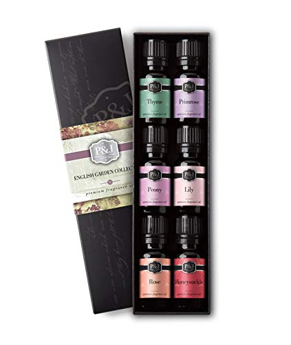 (English Garden Set of 6 Fragrance Oils - Premium Grade Scented Oil - 10ml - Rose, Honeysuckle, Thyme, Primrose, Lily, Peonies)