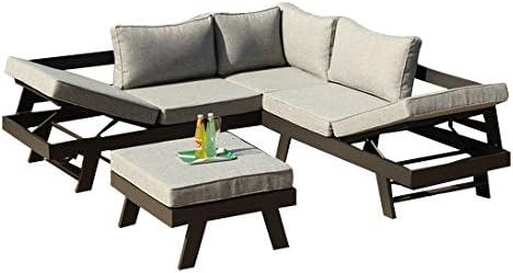 greemotion Panama-Juego de Muebles Aluminio (3 Piezas, para jardín y terraza, para Exteriores, con 2 tumbonas como Banco de Esquina y Taburete), Gris, 22.6 x 7.4 x 6.6 cm, 128510: Amazon.es: Jardín