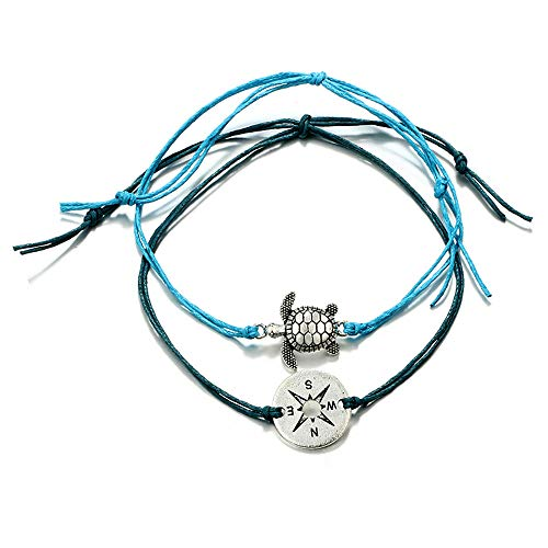 (Sinfu Women's Anklets,Round Compass Turtle Animal with Rope Two-Layer Foot Chains Beach Jewelry Gift Blue)