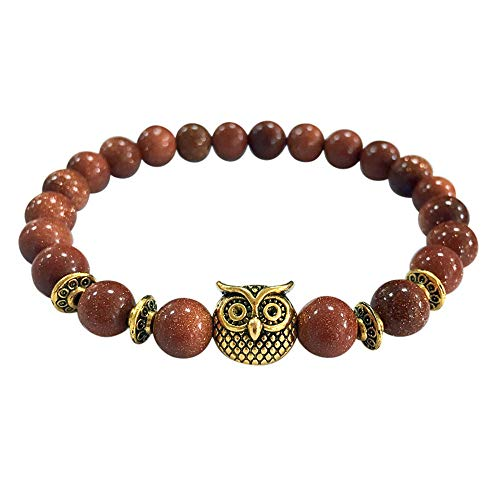 - baskuwish Essential Oil Diffuser Bracelets - Owl Semi Precious Gemstones - Natural Lava Rock Stones - Also Suitable as Couples Distance Best Friends Bracelets -y Relief Healing Protection Energy