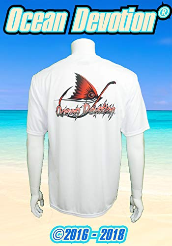 Redfish Fin & Hook - Ocean Devotion - White - XL Men's T-Shirt 100% Polyester -Keywords. Suerfing, Fishing, Guy Harvey, Paddle Board, Offshore, t shirt, Salt Life, Reel, Beach Life, Surf Life