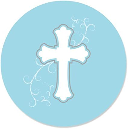 24 Count Baptism Party Circle Sticker Labels Big Dot of Happiness Little Miracle Boy Blue /& Gray Cross