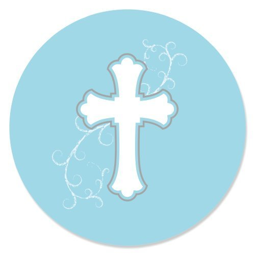 little-miracle-boy-blue-gray-cross-baptism-party-circle-sticker-labels-24-count