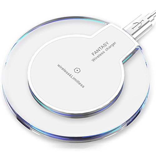 Qi Fantasy Wireless Charger Charging Pad for iPhone 8/X, Samsung S6 S7 S8 Note (White) (Short Alluring)