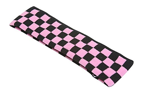 (New Single Trendy Headband Plaid Checkered (4 Colors Available), Pink/Black)