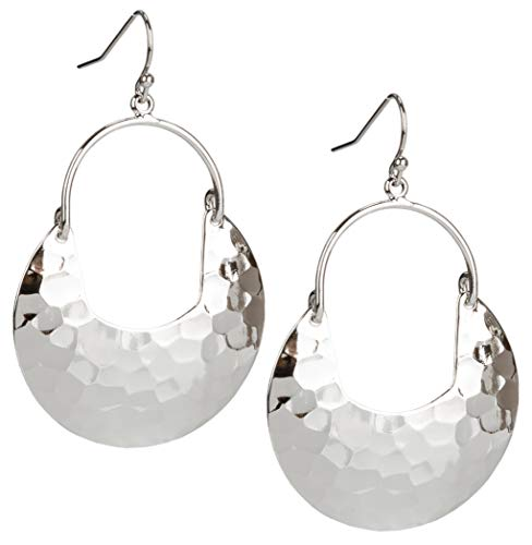SPUNKYsoul Crescent Hammered Silver Earrings in Gold or Silver for Women (Silver) ()
