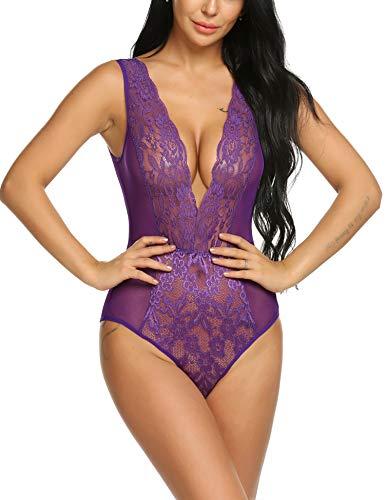 wearella Womens Halter Sexy Lingerie Lace Teddy Bodysuit Deep V Open Back Nightwear Purple S ()