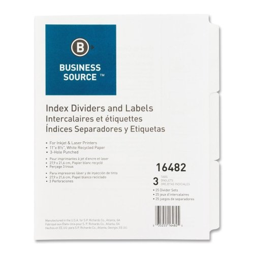 Business Source Plain Tab Index Dividers Index Diveder (16482) by Business Source