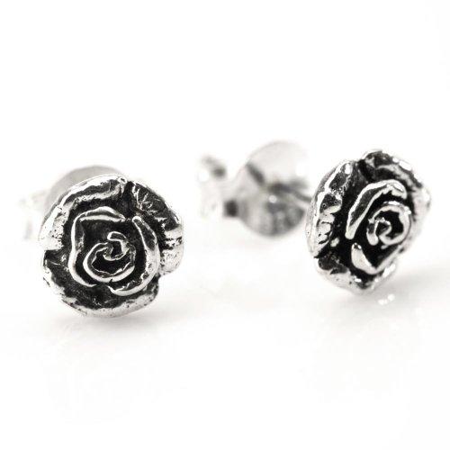 81stgeneration Women's .925 Sterling Silver Rose Flower Oxidized Small Studs Earrings (Butterfly Earrings Oxidized)