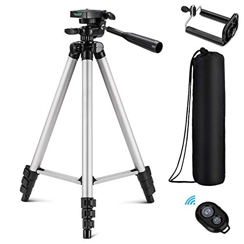 (Eocean Tripod, 50-inch Video Tripod for Cellphone and Camera, Universal Tripod with Wireless Remote & Cellphone Holder Mount, Compatible with iPhone Xs/Xr/Xs Max/X/8/Galaxy Note)