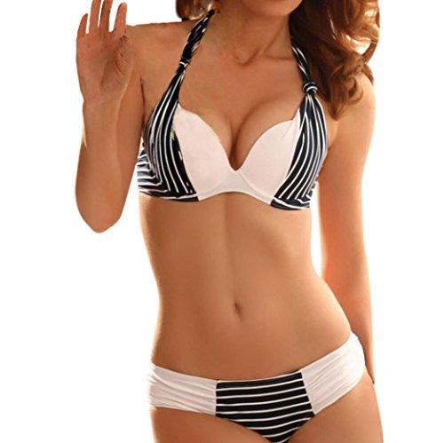 Price comparison product image Euone Women Naval Wind Triangle Bikini Set Bandage Swimwear Push-Up Swimsuit Bathing Beachwear (M, Blue)