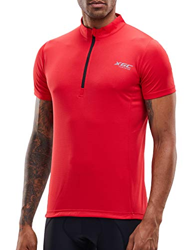 Men's Short/Long Sleeve Cycling Jersey Bike Jerseys Cycle Biking Shirt with Quick Dry Breathable Fabric (Red/Short, XXXXL)