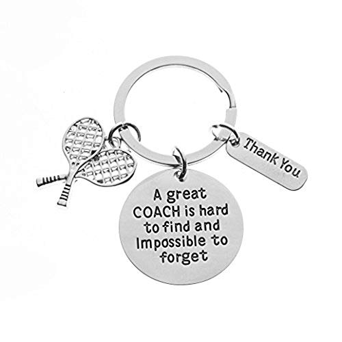 Infinity Collection Tennis Coach Keychain, Tennis Coach Gifts, Great Coach is Hard to Find Coach Keychain