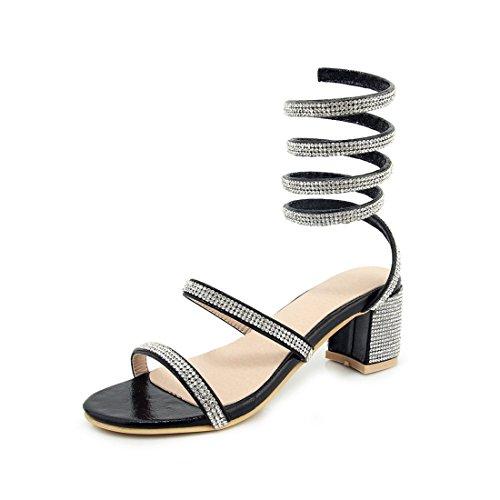 36 black sandali l'impronta heeled signore violento i high diamante sandali sandali e dei moda sandali q1w6HO4