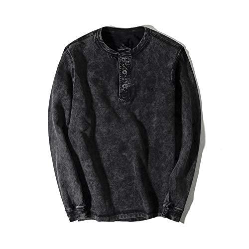 AITFINEISM Mens Summer Casual V-Neck Button Cuffs Cardigan Long Sleeve T-Shirts (Medium, Black)
