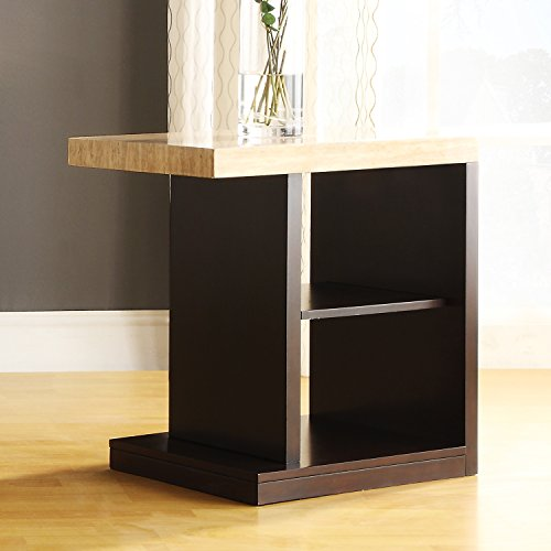 Metro Shop Tribecca Home Doncaster Faux Marble Top Dark Cherry Modern End Table--