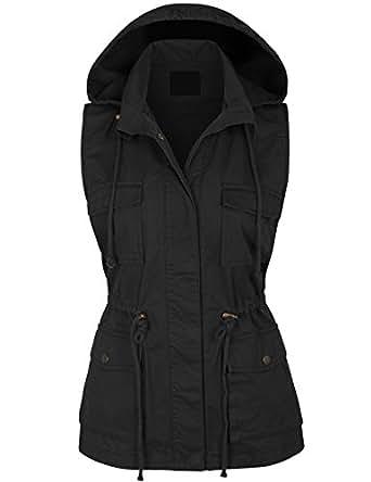 KOGMO Womens Military Anorak Safari Utility Vest with Hood-S-BLACK