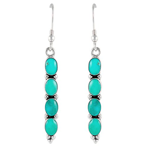 - Turquoise & Gemstones Earrings in Sterling Silver 925 (Turquoise)