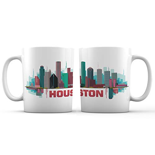 Mug Houston - Houston City, Texas Iconic View Art Ceramic Coffee Mug - 11 oz. - 'We Have a Problem Series' New Design Colorful Decorative Souvenir Gift Cup for Travelers, Tourists, Men and Women