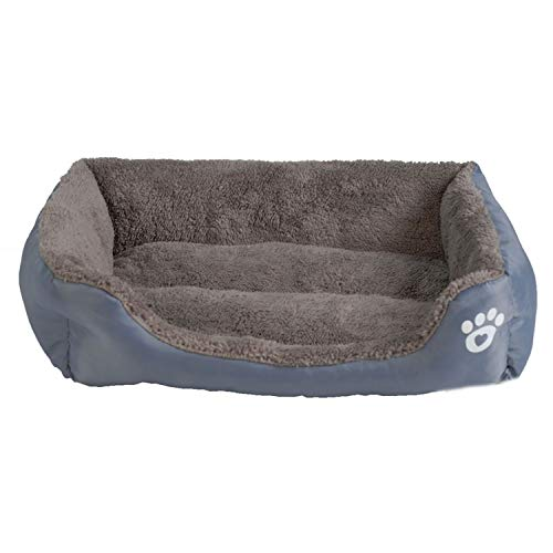 S-3XL 9 Colors Paw Pet Sofa Dog Beds Waterproof Bottom Soft Fleece Warm Cat Bed,Gray,XXXL