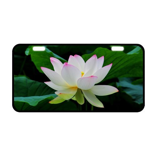 Hot Sale Discount Car Tag Pretty Lotus Flower Pattern Strong Aluminum Car License Plate 12
