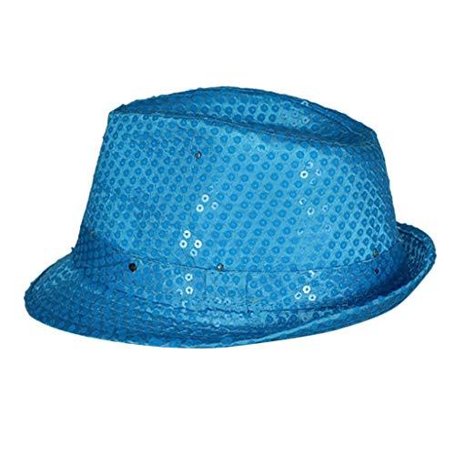 Cuekondy Women Men LED Light Up Sequin Fedora Hats,2019 Jazz Cowboy Caps Dance Concert Disco Club Costume Party Hat (Blue, 28X24X11CM)