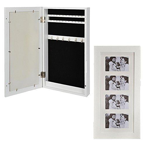 Wand-Schmuckkasten mit Bilderrahmen Holz weiß 60 x 30 x 9 cm | 2 Leisten für Ohrringe | 1 Leisten mit Haken | 1 Längsfach |