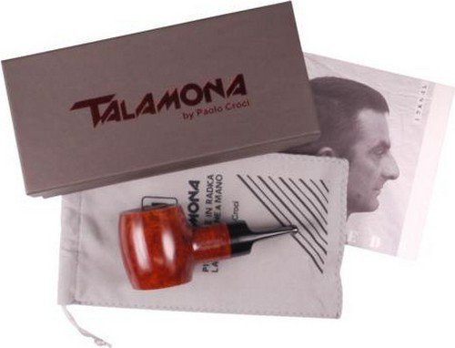 Talamona By Paolo Croci #1 Natural ''Reverse Calabash Chubby Poker 9MM Tobacco Briar Pipe