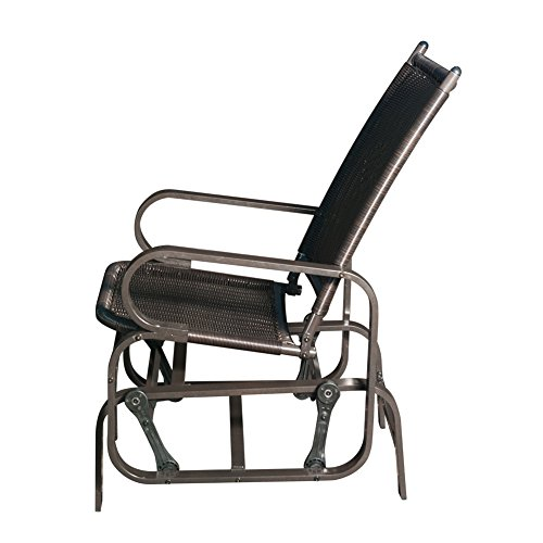 Patio Wicker Gliders, Steel Frame Rocking Chair for Outdoor Inside(Black)
