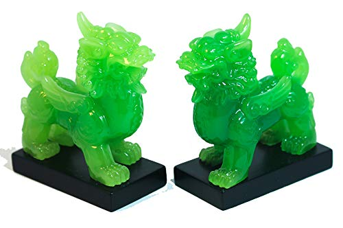A Pair of Pixiu Green Resin Pi Yao Figurine Decor, Pi Xiu Feng Shui Use, Jade Color for Wealth Good Luck and Income Prosperity Statue Figurine Home Office Decoration S01