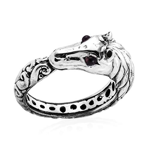 925 Sterling Silver Horse Ring Ring for Women Round Rhodolite Garnet Gift Jewelry Size 8