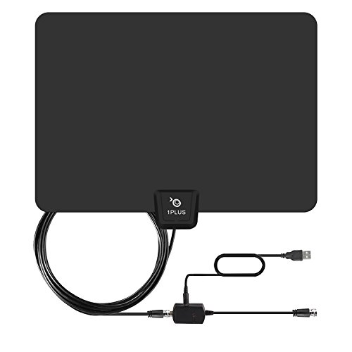 HDTV Antenna-1PLUS 50 Miles Range Digtial Amplified TV Antenna with Detachable Amplifier, HDTV Indoor Antenna for High Reception-13ft Coax Cable,12-month warranty