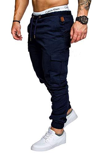 cinesi slim Pantaloni Elastic fit slim Clothing Dunkelblau Sports fit uomo da wCxaq4T