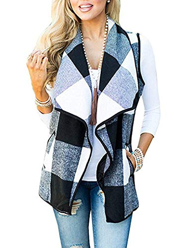 Yanekop Womens Sleeveless Open Front Hem Plaid Vest Cardigan Jacket with Pockets(Black 1,2XL)