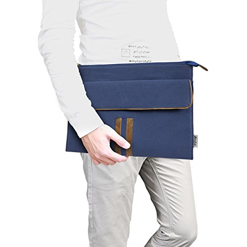Becko 13-13.3 Inch MacBook Air/Pro Retina Laptop Sleeve Canvas PU Leather Carrying Case Cover Notebook Protector - Online Shoping For India