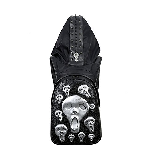 Price comparison product image Cool men's creative double shoulder bag skull head rivet hat bag personalized double shoulder bag-silvery