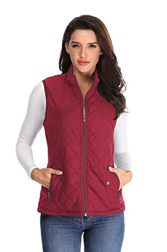MISS MOLY Women's Lightweight Quilted Zip Vest Stand Collar Gilet Padded Sleeveless Gilet Vest-Wine Red L