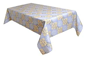 MG Oilcloth-Tablecloth Washable Leaves Cream-Blue ( 121-01 ) - 160 X 140 Cm