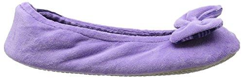 Isotoner Damen Velour Big Bow closed back Ballet Pantoffeln Purple (Lilac Stripe)