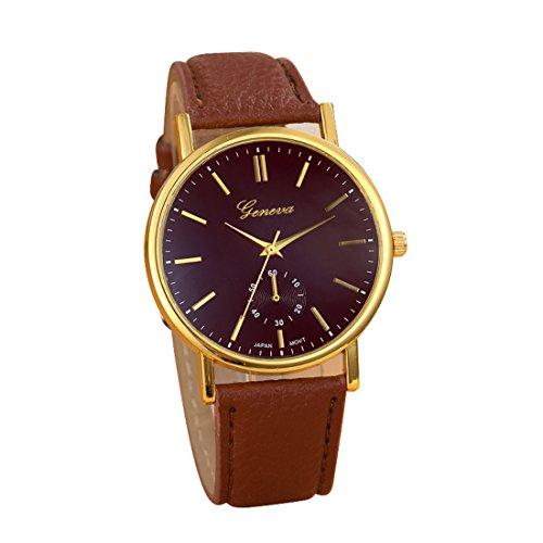 Franterd® Uhren, Unisex Herren Damen-Armbanduhr Elegant Uhr Modisch Zeitloses Design Klassisch Leder Römische Ziffern-Leder-analoge Quarzuhr Armbanduhr Braun