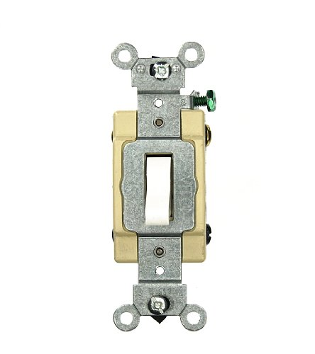 Leviton CSB4-20W 20 Amp, 120/277 Volt, Toggle 4-Way AC Quiet Switch, Commercial Grade, Grounding, White (4 Way Switch)