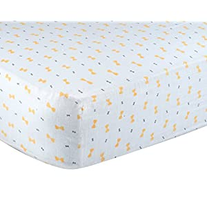 "Kadut Kids Crib Sheet Set, 1 Pack, 100% Soft Muslin Cotton- Fitted Bed Sheets- Unisex Gray Yellow– Easy Care, Machine washable- Fits Standard Crib Mattress-Measures 28"" x 52"" x 9"" for Baby, Toddlers."
